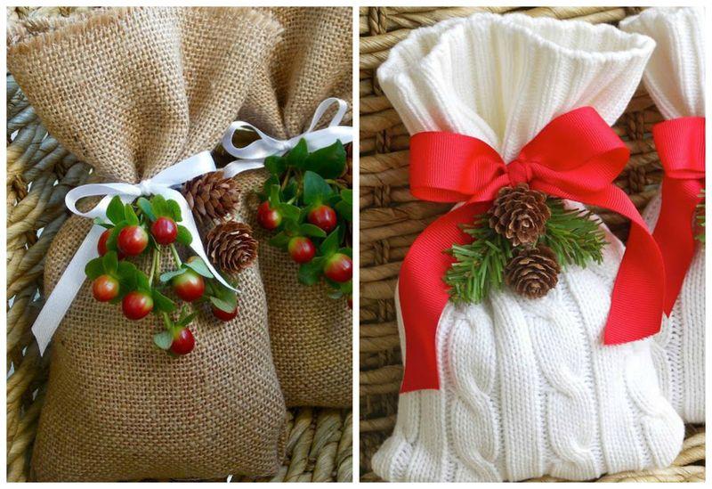 Простые идеи для упаковки новогодних подарков. Холщовая ткань | Блог Дом, в который хочется приходить