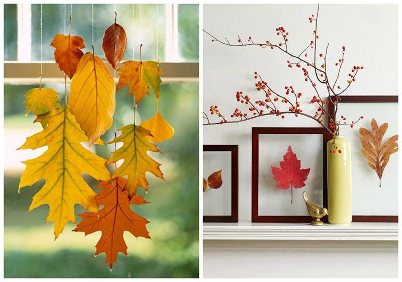 осенний-декор-листьями